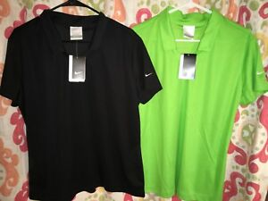 2 New Women's Nike Golf Dri-fit Micro Pique Solid Icon Polo Shirt XL Black Green