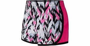 NIKE Girl Shorts 2T Tempo Dri Fit Geoprism Pink Blck White Running Lined Toddler