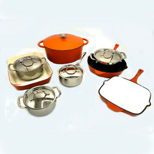 Le Chef 13-Piece Enameled Cast Iron Cookware Set (Multi-colored, OR).