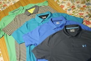 Men's Pre owned LOT of 5 UNDER ARMOUR Polo's All size LARGE Golf Sports Heatgear