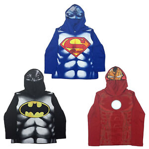 Marvel Boys Hoodie Shirt Long Sleeve Shirt with Superhero Mask Hood $9.99