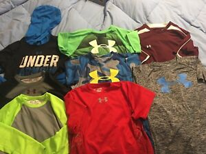 Lot of 8 Boys Under Armour ShirtsHoodie Size Youth Medium Preowned Great Lot!
