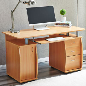 Computer PC Desk Home Office Study Writing Table 3 Drawers Bookcase Modern US