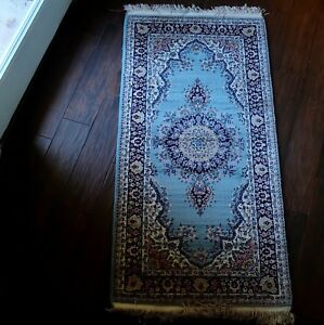 Fringed Hand Knotted Aqua Vintage Turkish Wool Runner Rug 3 x 5 Ft (3705)