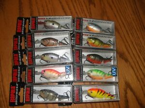 RAPALA  JOINTED SHAD RAP #4's-LOT of 10 DIFFERENT COLORED FISHING LURES-JSR04