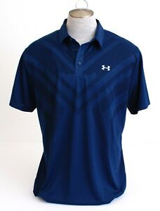 Under Armour UA Vent Tips Blue Loose Fit Short Sleeve Polo Shirt Men's NWT