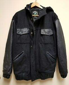 Brooklyn Swagg men's hoodie quilted lining leather wool jacket mignight blue s.M
