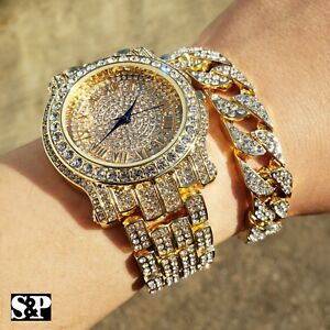 MEN'S HIP HOP QUAVO GOLD PT LUXURY WATCH & FULL ICED CUBAN BRACELET COMBO SET