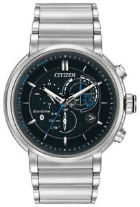 Citizen Eco Drive Men's Proximity Bluetooth Silver Tone 46mm Watch BZ1000 54E