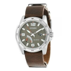 Citizen Eco Drive Men's Tuape Dial Brown Leather Band 42mm Watch AW7039 01H