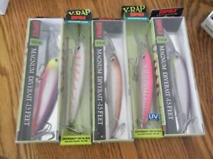 RAPALA X-RAP MAGNUM 15's--lot of 5 DIFFERENT COLORED-FISHING LURES-XRMAG15