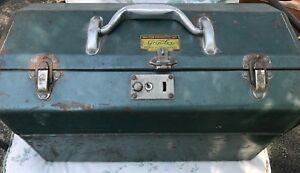 Vintage Antique Tackle Box W Lures Hooks Line Spinners Great Fish Lot