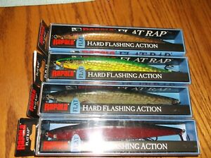 RAPALA FLAT RAP-16's--lot of 4 DIFFERENT COLORED-FISHING LURES-FLR16