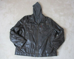Levis Hooded Faux Leather Jacket Adult 2XL XXL Hooded Motorcycle Hoodie Coat Men