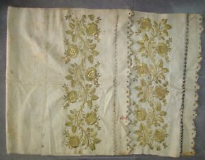 Antique Turkish Turkey Ottoman ? Embroidery Cloth Towel Hamam Gold Tone Textile