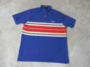 VINTAGE Ralph Lauren Polo Sport Shirt Adult Extra Large Blue Red Spell Out Rugby
