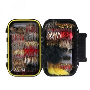 120 Pcs Fishing Lure Set Dry Wet Flies Bait Kit Waterproof Fly Box For Trout