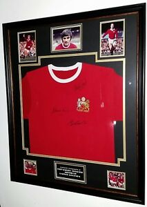 ** Rare George Best Bobby Charlton and Denis Law Signed Shirt Autograph **
