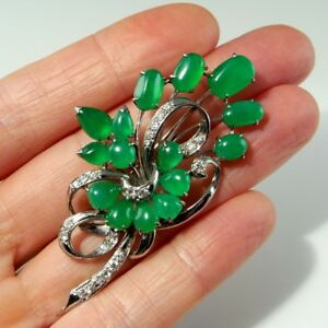 IMPERIAL JADEITE JADE Art Deco 1930s 18K Gold Floral Brooch Pin Statement Cab