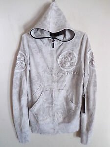 Men's Salvage sun spade leather design hoodie cement gray jacket Karma SZ XXL
