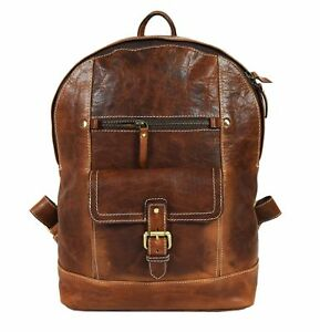 15.5 Leather Backpack  Detachable Padded Laptop Sleeve Rucksack Bag New