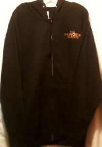 Hunger Games Movie Graphic Hooded Hoodie Sweat Shirt Black Zip Front Size XL