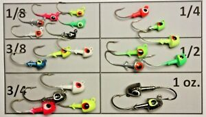 BULLET NOSE JIGS JIG HEADS LURES LOT CHOICE SIZE AND COLOR PACKS