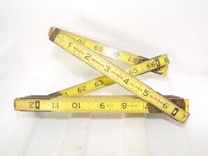 Vintage Wood and Brass Folding Tape Metric Measure Ruler. Chicago M klein amp; sons $15.19