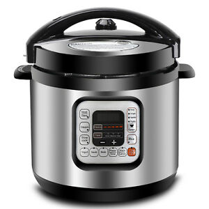 Steel Electric Pressure Cooker Family Size 6Qt 1000W 11 Presets Cooking Faster