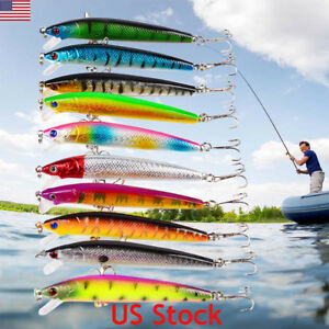 5 pcs Fishing Lures Baits Floating Bass Crankbaits Popper Hard Sea Lures Hooks