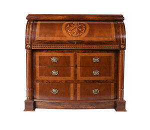 Vintage Regency-Style Roll Up Secretaire  Desk Inlaid Design