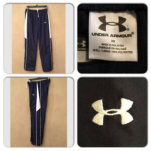 NWOT UNDER ARMOUR WOMENS XS NAVY BLUE LIGHTWEIGHT POLYESTER TRACK ATHLETIC PANTS