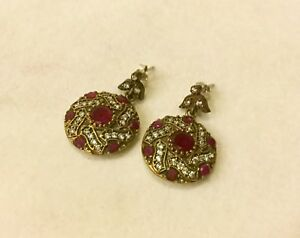 Authentic Sterling Silver Ruby with Crystal Accents Turkish Pierced Earrings