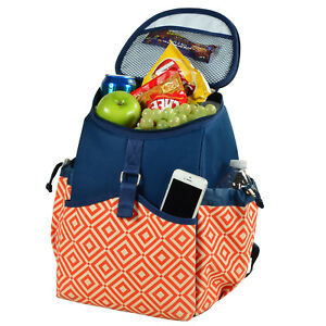 Picnic at Ascot Insulated Backpack Cooler - Orange/Navy (537-DO)