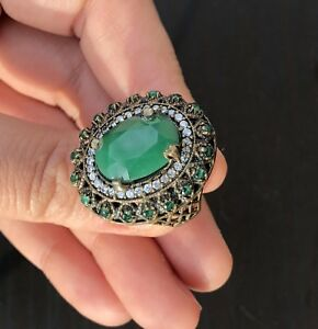 VINTAGE TURKISH %100 HANDMADE 925 STERLING SILVER WOMEN RING EMERALD TOPAZ Siz 9