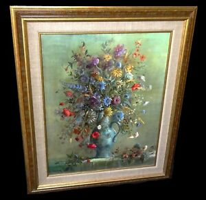 1980s French Oil Floral Still Life Painting by Guy Cambier (1923-2008)(Tan)