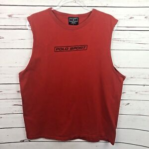 Vintage Polo Sport Large Shirt Sleeveless Red Ralph Lauren Spellout Tank Top 90s