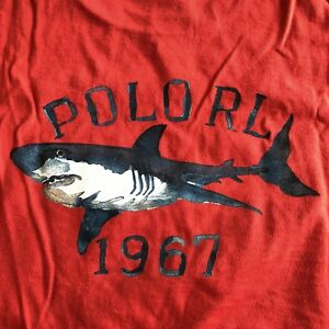 Vintage Ralph Lauren Polo Sport Shark pocket t shirt RED med FLAWLESS cp93 pwing