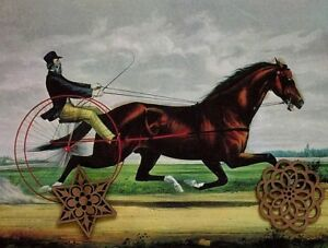 Vtg Currier amp; Ives Art Print Antique Repro Horses Equestrian Sports SEE VARIETY $7.50