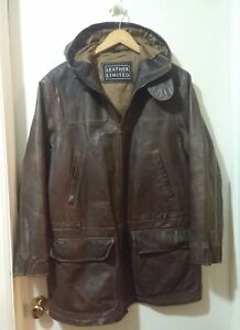 VTG Leather Limited Thinsulated Men Jacket  M Hoodie Coat Brown Distress Pockets
