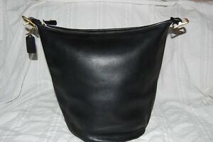 Vtg COACH USA Black Leather Purse Bag Feedbag Bucket MISSING STRAP 9085