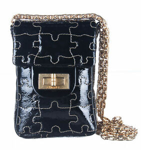 CHANEL Black Patent Leather Puzzle Quilted Crossbody Bag