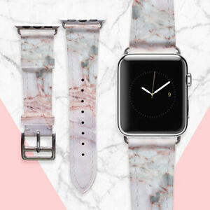 Apple Watch Pink Marble Bracelet iWatch Genuine Leather Strap Smart Watch Band