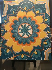 Teal Kaleidoscope in abstract acrylic canvas painting 16x20 in size