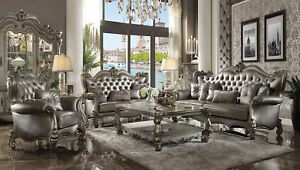 Acme Versailles Sofa with 6 Pillows in Silver and Antique Platinum Finish 56820