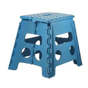 Folding Step Stool for Children and for Adults 13 In. Blue, Holds up to 300 lbs