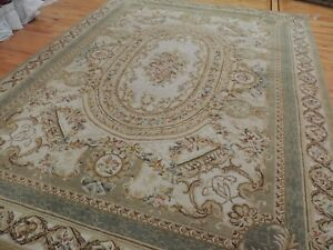 French 9x12 Savonnerie Aubusson Design Oriental Rug Green Beige Gold
