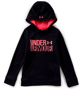 Girl's Under Armour UA Hoodie 1308409 Youth Medium YMD Sweatshirt Black w Pink