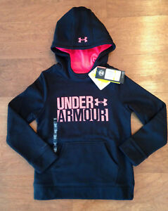 Girl's Under Armour UA Hoodie 1308409 Youth Small YSM Sweatshirt Black w Pink