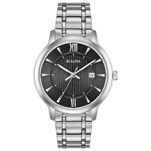 Bulova Men's 96B278 Quartz Black Dial Silver-Tone Bracelet 40mm Watch